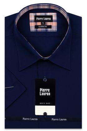 Темно-синяя мужская рубашка больших размеров c коротким рукавом