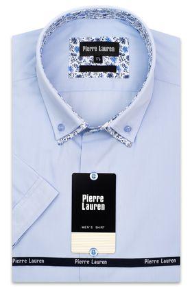 Красивая мужская рубашка с коротким рукавом голубого цвета