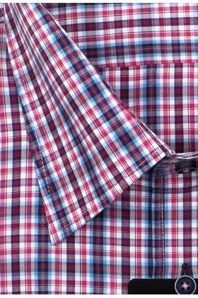 Мужская рубашка больших размеров c коротким рукавом в фиолетовую клетку