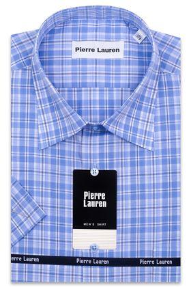 Мужская рубашка больших размеров c коротким рукавом в голубую клетку