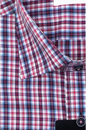 Мужская рубашка с коротким рукавом в фиолетовую клетку