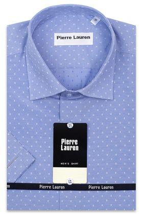 Мужская рубашка с коротким рукавом голубая с узором