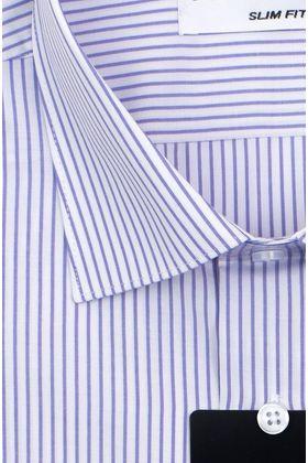 Мужская рубашка с коротким рукавом в сиреневую полоску