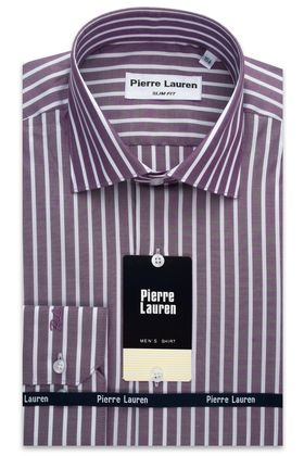 Фиолетовая мужская рубашка с длинным рукавом в полоску