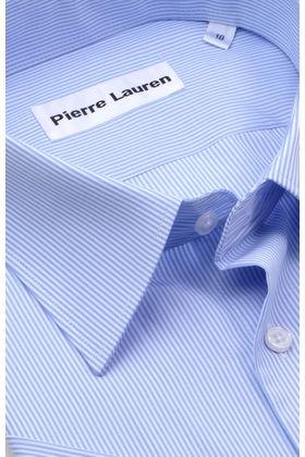 Классическая прямая мужская рубашка в голубую полоску с коротким рукавом
