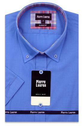 Синяя мужская рубашка с коротким рукавом