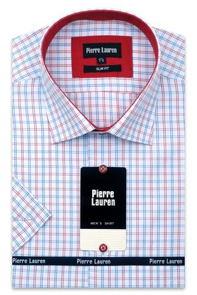 Мужская рубашка в красно-синюю клетку с коротким рукавом