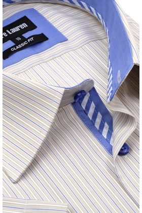 Классическая прямая мужская рубашка в полоску с коротким рукавом