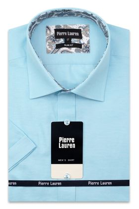 Однотонная бирюзовая мужская рубашка с коротким рукавом