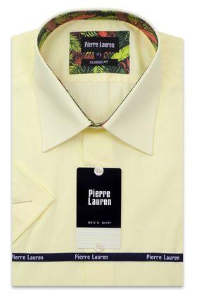 Классическая желтая однотонная прямая мужская рубашка с коротким рукавом