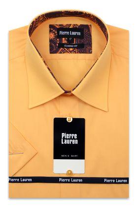 Классическая оранжевая прямая мужская рубашка с коротким рукавом