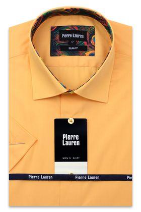 Однотонная оранжевая мужская рубашка с коротким рукавом