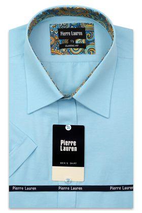 Классическая прямая мужская рубашка с коротким рукавом бирюзового цвета