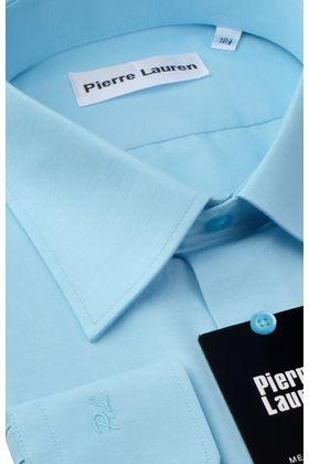 Красивая мужская рубашка прямого покроя больших размеров бирюзового цвета из структурной ткани
