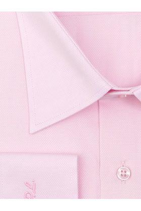 Красивая мужская рубашка прямого покроя больших размеров из розовой структурной ткани