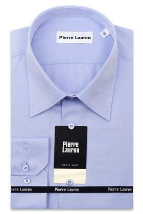 Красивая мужская рубашка прямого покроя больших размеров, голубого цвета из структурной ткани