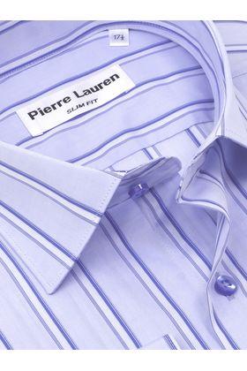 Приталенная мужская рубашка в голубую полоску