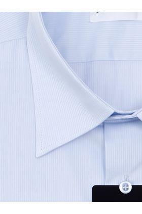 Классическая мужская рубашка с длинным рукавом голубого цвета в полоску