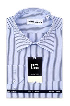 Мужская рубашка прямого покроя больших размеров в голубую полоску