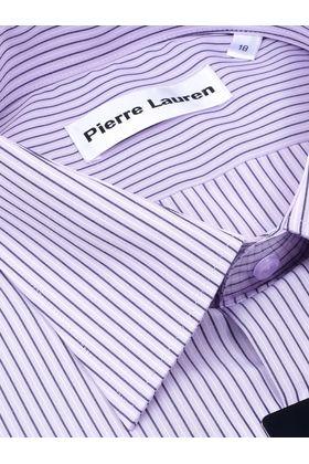 Мужская рубашка прямого покроя больших размеров в сиреневую полоску