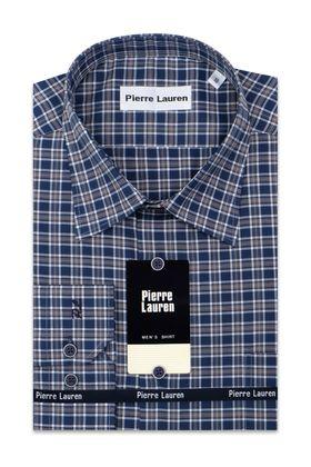 Мужская рубашка прямого покроя больших размеров в темно-синюю клетку
