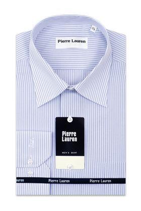 Классическая мужская рубашка больших размеров прямого покроя в голубую полоску