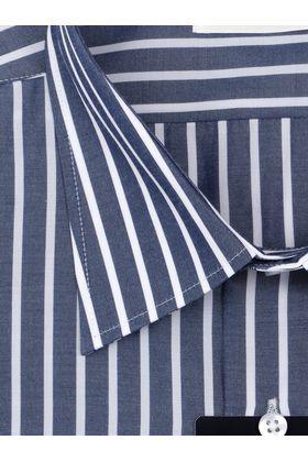 Классическая мужская рубашка больших размеров прямого покроя темно-синего цвета