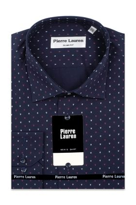 Приталенная мужская рубашка в темно-синего цвета с узорным принтом