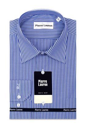 Синяя приталенная мужская рубашка в белую полоску