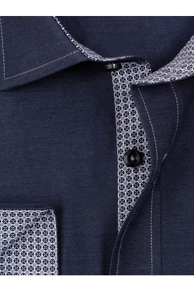 Приталенная мужская рубашка из темно-синей структурной ткани