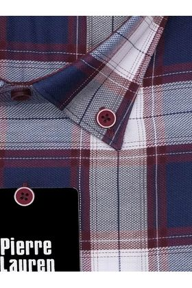 Классическая мужская рубашка с длинным рукавом в синюю клетку