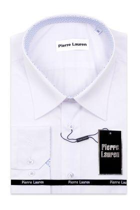 Белая классическая  мужская рубашка больших размеров с узорным подкроем
