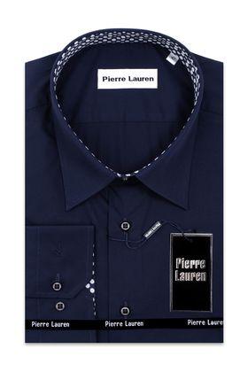 Темно-синяя классическая мужская рубашка больших размеров с узорным подкроем на манжетах и воротнике