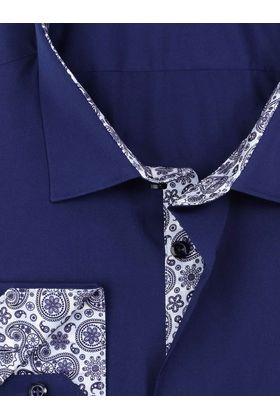 Тёмно-синяя классическая мужская рубашка прямого покроя
