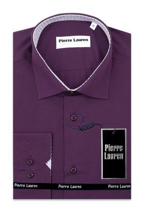 Фиолетовая классическая мужская рубашка с длинным рукавом