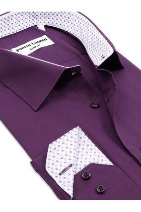Приталенная фиолетовая мужская рубашкаПриталенная фиолетовая мужская рубашка