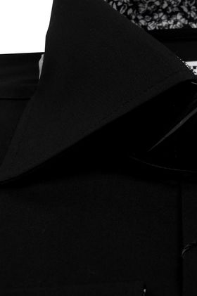 Черная однотонная мужская рубашка Elegance Slim Fit с узорным подкроем