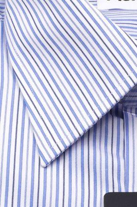 Мужская рубашка с длинным рукавом в голубую полоску