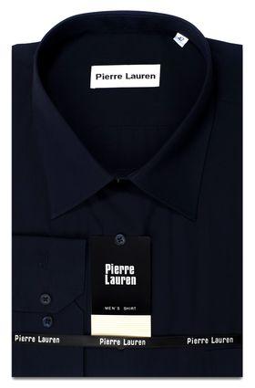 Однотонная мужская рубашка Slim Fit (полуприталенная) насыщенного темно-синего цвета