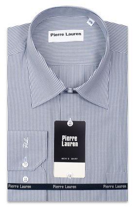 Приталенная однотонная мужская рубашка в темно-синюю полоску Slim Fit