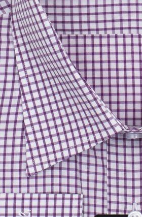 Мужская рубашка в сиреневую клетку