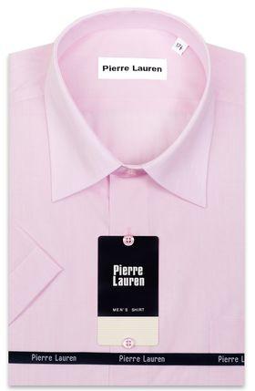 Однотонная розовая мужская рубашка с коротким рукавом