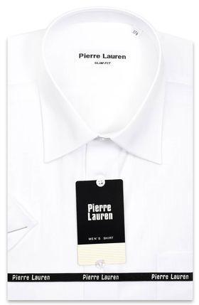 Белая мужская рубашка с коротким рукавом классического прямого покроя