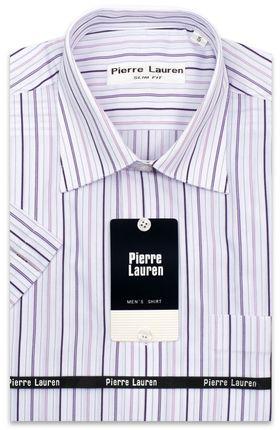 Белая мужская рубашка с коротким рукавом в сиреневую полоску