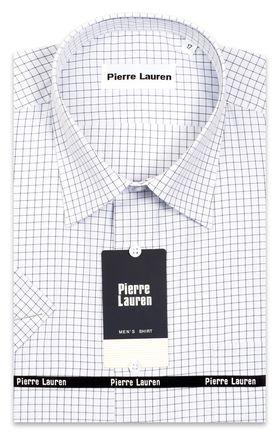 Приталенная мужская рубашка белого цвета в клетку с коротким рукавом
