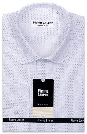 Красивая белая рубашка с узорным принтом синего цвета