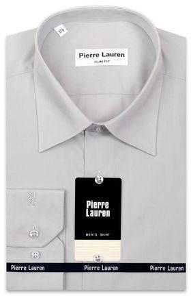 Однотонная мужская рубашка светло-серого цвета