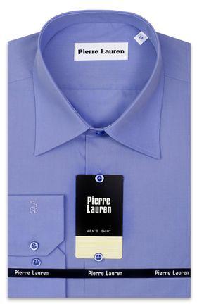 Однотонная мужская рубашка больших размеров синего цвета