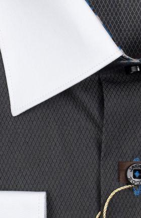 Мужская рубашка из 100% хлопка графитового оттенка