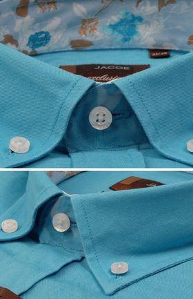 100153JМК Бирюзовая мужская рубашка приталенная Jacoe